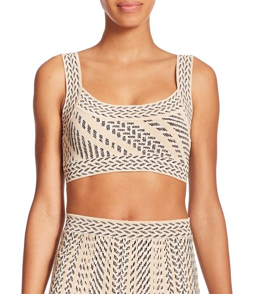 BCBGMAXAZRIA Aryelle printed cropped top - Stripes and zigzags lend textural interest to this...