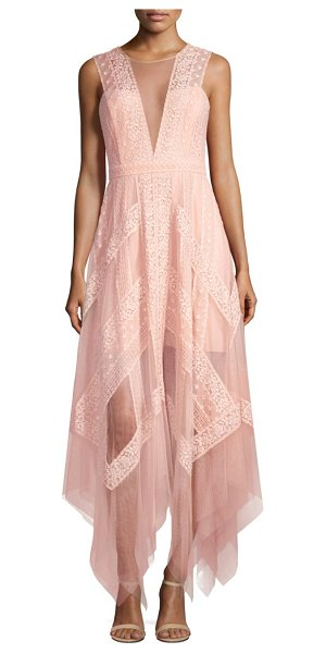 BCBGMAXAZRIA asymmetrical lace dress in bare pink - Embroidered lace dress with illusion panel on front....