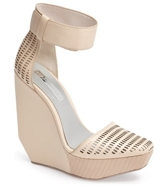 BCBGMAXAZRIA 'austin' ankle strap wedge sandal in beige - Perforated leather adds to the avant-garde appeal of a...