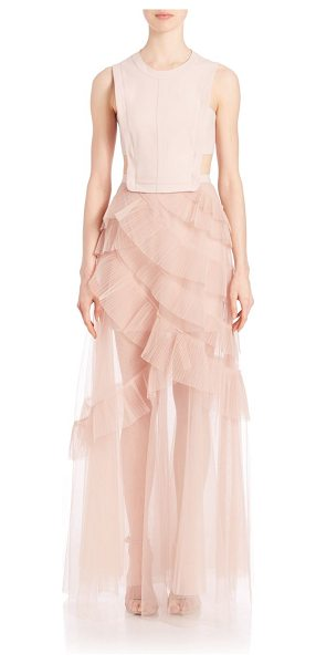 BCBGMAXAZRIA avalon sheer cutout gown in bare pink - Cutout bodice tops ethereal pleated tulle skirt....
