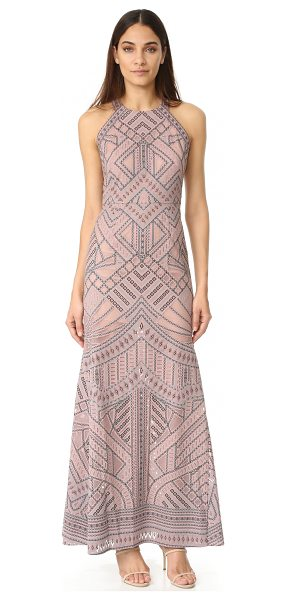 BCBGMAXAZRIA mesh inset gown in antique rose - A fused pattern brings bold detail to this airy mesh...