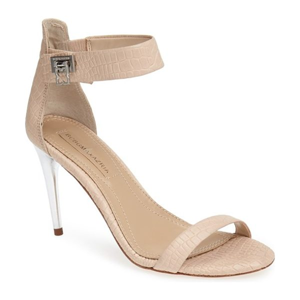 BCBGMAXAZRIA 'polaris' sandal in beige - Croc-embossed leather brings exotic glamour to a modern...