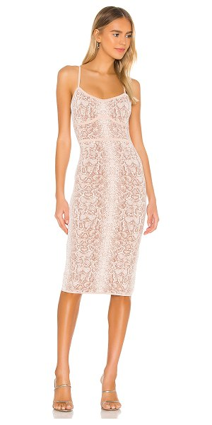 BCBGMAXAZRIA bodycon sleeveless midi dress in bare pink combo