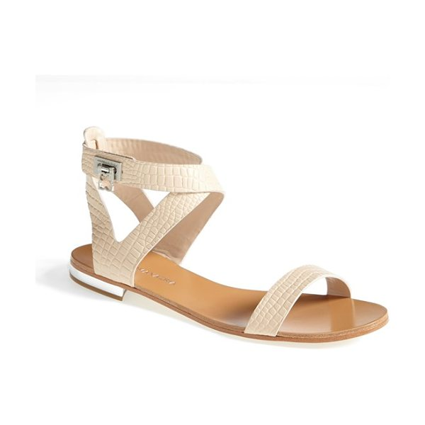 BCBGMAXAZRIA brannon croc embossed flat sandal in beige - The metal-trimmed heel and flip-lock hardware give a...
