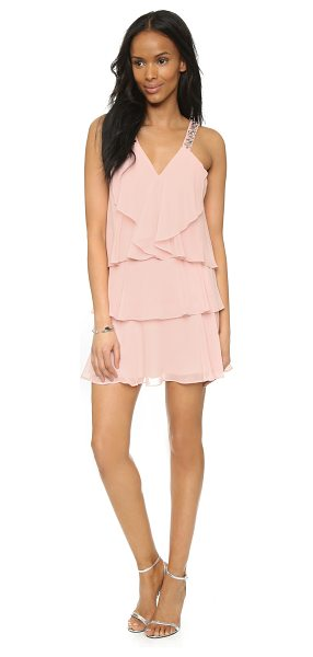 BCBGMAXAZRIA Carlotta dress in light shell - Faceted crystals accent the shoulder straps of this...