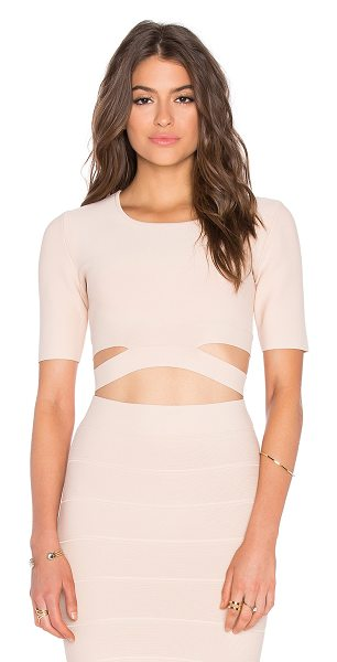 BCBGMAXAZRIA Clarissa Cutout Crop Top in blush - 86% rayon 13% nylon 1% spandex. Elastic stretch fit....