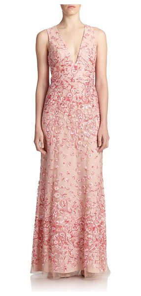 BCBGMAXAZRIA Claudea embroidered v-neck gown in softpetalcombo - Intricate floral embroidery embellishes this elegant...