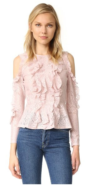 BCBGMAXAZRIA cold shoulder peplum blouse in bare pink