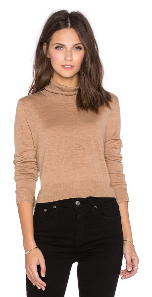 BCBGMAXAZRIA Crop turtleneck sweater in tan - 100% merino wool. Hand wash cold. BCB-WK39. AML1V053....