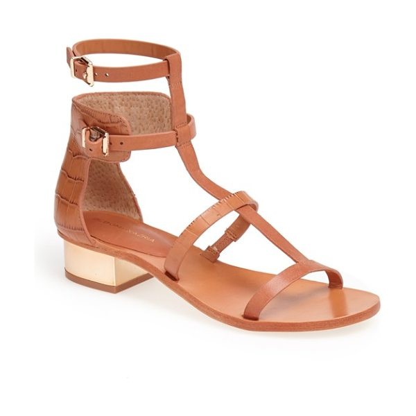 BCBGMAXAZRIA cross t-strap sandal in camel - Crocodile-embossed vachetta leather styles the heel of a...