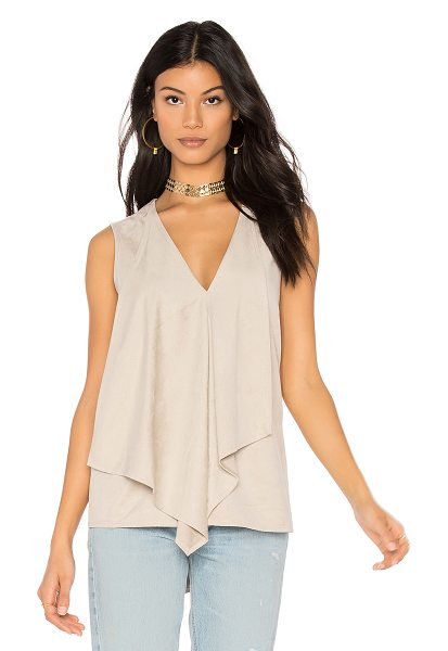 BCBGMAXAZRIA Drape Front Tank in light stone - Self: 92% poly 8% spandexLining: 100% poly. Draped...