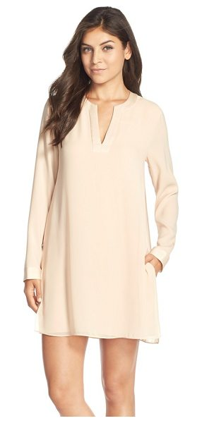 BCBGMAXAZRIA dyanne crepe shift dress - A timeless long-sleeve shift is enhanced by satiny trim...
