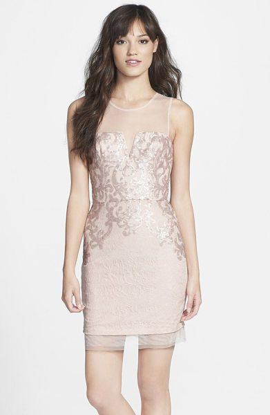 BCBGMAXAZRIA embellished lace sheath dress - Silver-polished sequins trace shimmering filigree across...