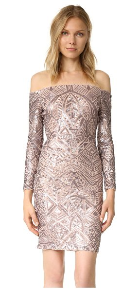 BCBGMAXAZRIA embellished off shoulder dress in rose gold combo - A sequined design lends low-key luster to this...