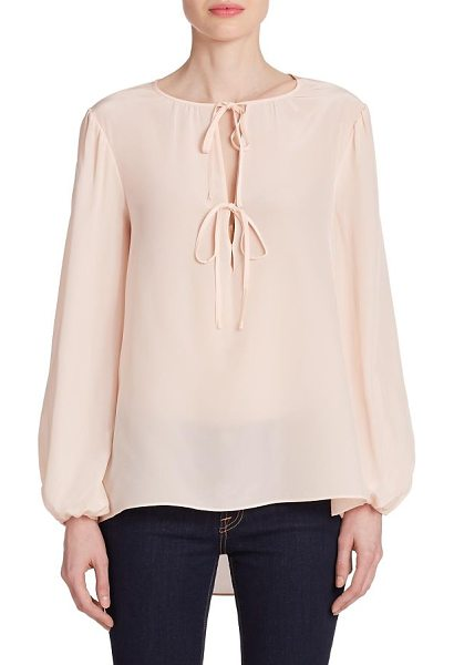 BCBGMAXAZRIA Evanna double-tie peasant blouse in peachblush - Rendered in smooth and luxurious silk, this peasant...