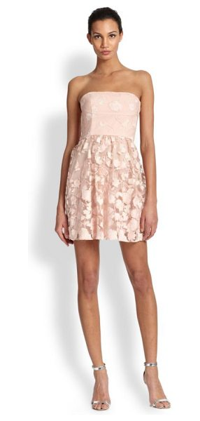 BCBGMAXAZRIA Everly strapless embroidered dress in barepinkco - Tonal floral embroidery and a short and swinging skirt...