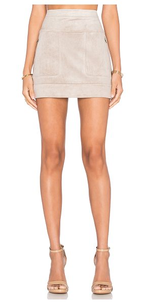 BCBGMAXAZRIA Faux suede mini skirt in beige - Self: 94% poly 6% spandexLining: 68% cotton 28% nylon 4%...