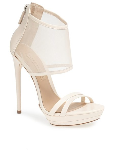BCBGMAXAZRIA ferned mesh ankle cuff sandal in natural - A breezy mesh cuff updates the look of a sky-high sandal...