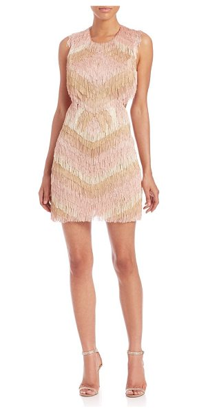 BCBGMAXAZRIA Fringed cut-out sheath in barepink - Layers of tiered, multicolor fringe lend a bohemian look...