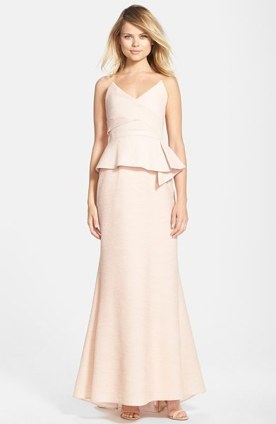 BCBGMAXAZRIA gracie peplum crepe mermaid gown in bare pink - This ultra-modern and wildly flattering evening gown is...