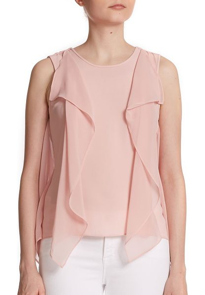 BCBGMAXAZRIA Ivorie ruffled tank top - Georgette fabric in a stunning pastel hue shapes this...