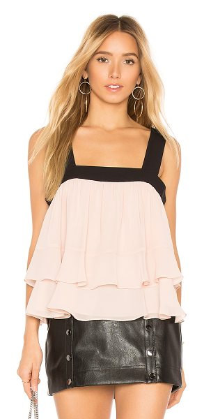 BCBGMAXAZRIA Jaklyn Sleeveless Shirred Top in blush - Self & Lining: 100% poly. Chiffon fabric. Tiered hem....