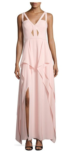 BCBGMAXAZRIA juliana ruffle gown in light shell - Cutouts flatter this whimsical ruffle gown. Deep V-neck....