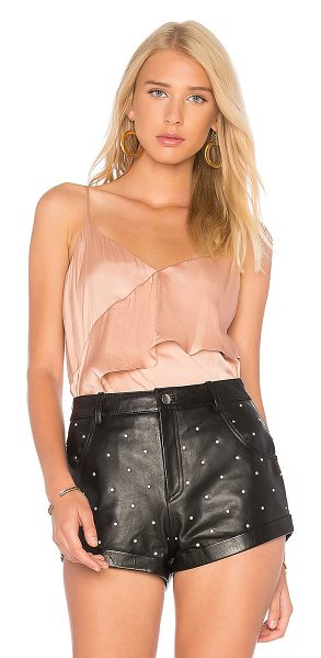 BCBGMAXAZRIA Kayley Tank in pink - 100% poly. Adjustable shoulder straps. Draped ruffle...