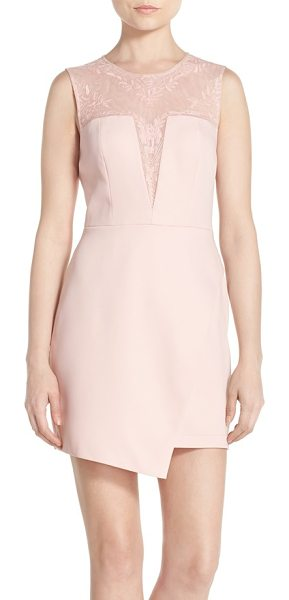 BCBGMAXAZRIA kinsley embroidered mesh & satin a-line dress in whisper pink - Floral embroidery traces the sheer mesh yoke and...