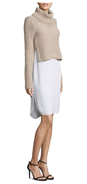 BCBGMAXAZRIA knit sweater & slip twofer dress in light khaki - Update your wardrobe with this jazzy twofer dress. This...