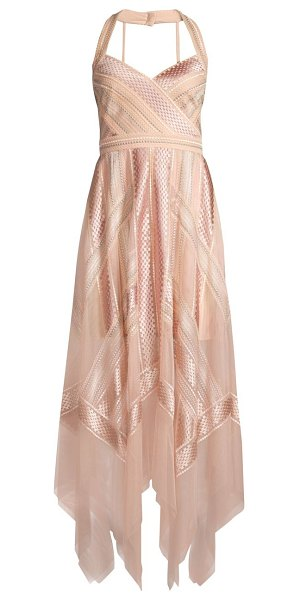 BCBGMAXAZRIA lace handkerchief halter dress in bare pink