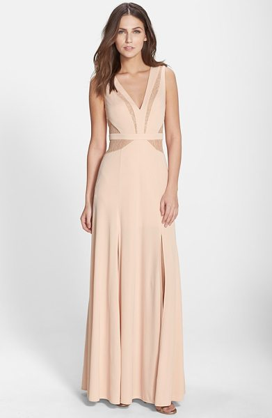 BCBGMAXAZRIA lace inset jersey gown in bare pink
