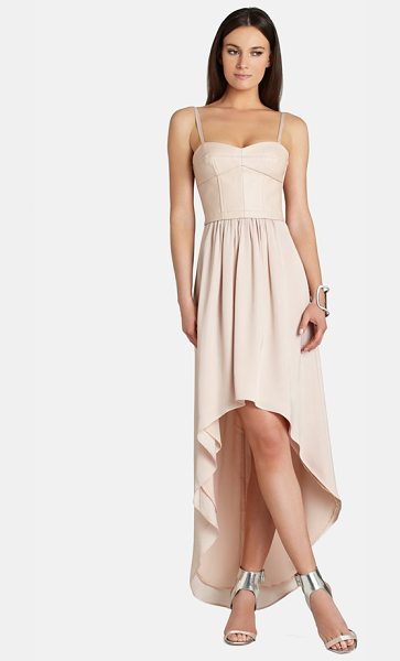 BCBGMAXAZRIA leandra faux leather & crepe de chine high/low dress - This mixed-media dress cast in a demure blush tone pairs...
