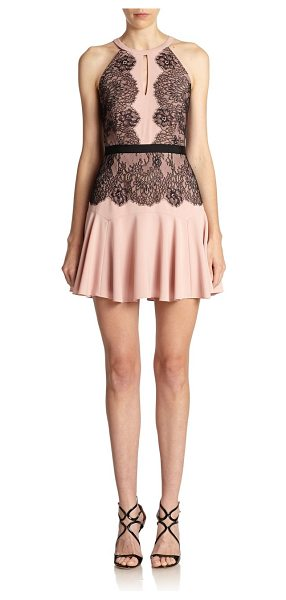 BCBGMAXAZRIA Leyla halter lace-contrast dress in shadowblush