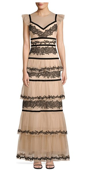 BCBGMAXAZRIA long lace tiered dress in bare pink combo - Create a memorable entrance in this opulent point...