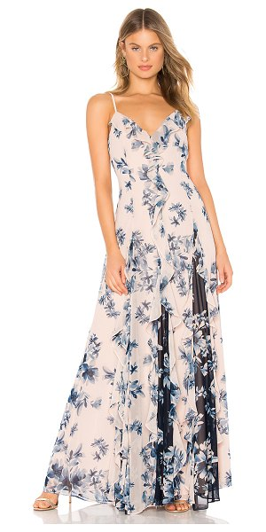 BCBGMAXAZRIA long ruffle gown in divine bloom peach