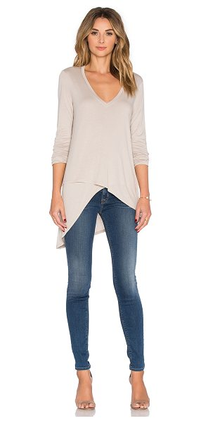 BCBGMAXAZRIA Long sleeve top in tan - 100% rayon. Faux wrap detail. BCB-WS399. WCJ1W104....