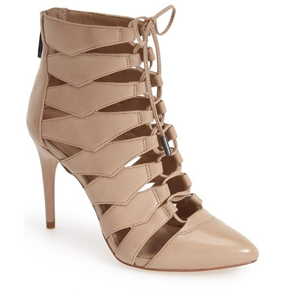 BCBGMAXAZRIA ma-bren lace-up bootie in nude - A slender lace snakes up the front of a stunning...