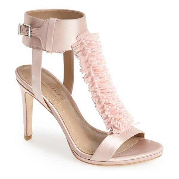 BCBGMAXAZRIA ma-limbo fringe t-strap satin sandal - A playful, dimensional take on the fringe trend...