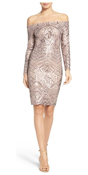 BCBGMAXAZRIA off the shoulder sequin dress in rose gold combo - Step into the limelight of the holiday party season in...