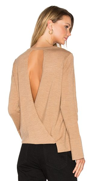 BCBGMAXAZRIA Open Back Sweater in camel - 100% merino wool. Hand wash cold. Cut-out surplice back....