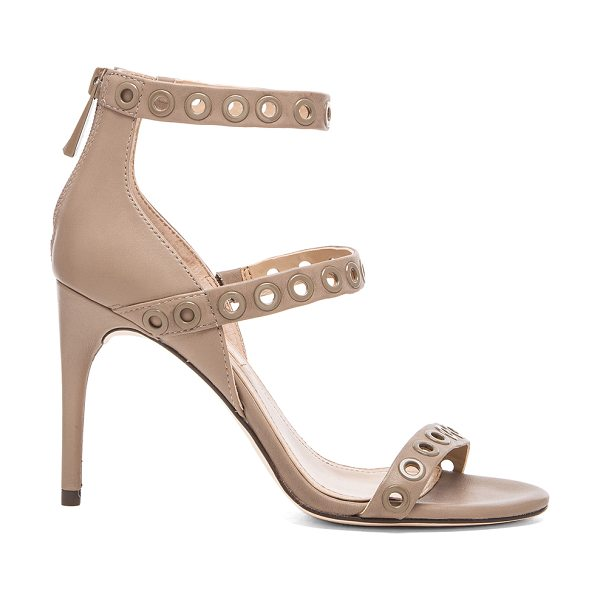 """BCBGMAXAZRIA Parry sandal in taupe - Leather upper and sole. Heel measures approx 3.5"""""""" H...."""