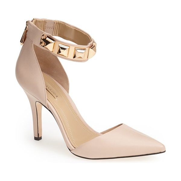 BCBGMAXAZRIA peter pointy toe pump in soy chai - Polished pyramid studs highlight the bold ankle strap of...