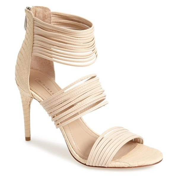 BCBGMAXAZRIA pex sandal in beige - Clusters of slim straps add impeccable modern flair to a...