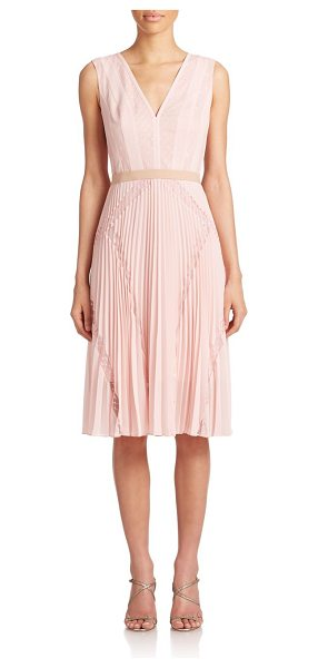 BCBGMAXAZRIA Rylee lace-inset dress in lightshell - Pretty pindot lace panels add an ultra-feminine touch to...