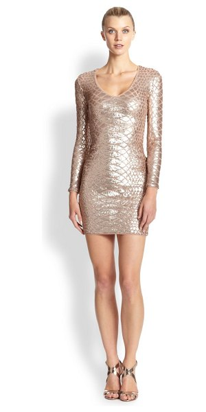 BCBGMAXAZRIA Sabryna python sequin cocktail dress in rosegold - Python print is undeniably glamorous when cast from...