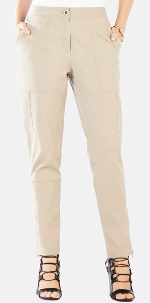 BCBGMAXAZRIA scott relaxed leg stretch cotton pants in khaki - Layered utility pockets sleekly line the relaxed legs of...