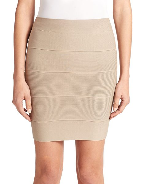 BCBGMAXAZRIA Simone textured power skirt in khaki - This body-hugging bandage design lends a touch of...