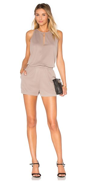 BCBGMAXAZRIA Sleeveless Romper in taupe - 71% modal 29% poly. Keyhole front. Elasticized banded...