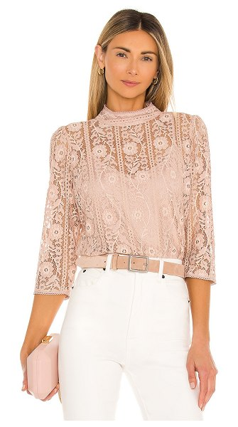 BCBGMAXAZRIA striped floral lace blouse in bare pink